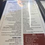 Breakfast menu selections