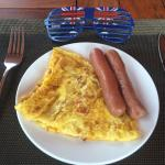 A perfect Australian Day celebration breakfast - Omelette and Sausages