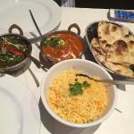 Lamb and spinach, Butter chicken, saffron rice, garlic naan
