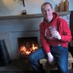 Me after a fantastic meal and a nice pint, getting a warm by the coal fire. Just perfect.
