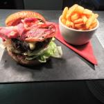 handmade burger with bacon and cheese