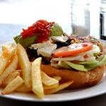 I-am-Sparta burger, with bacon, avo and feta