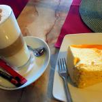 cafe latte and cheesecake