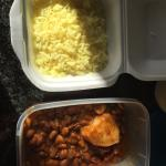 bean curry and half a tub of rice