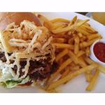 blackberry barbeque pork sandwich and fries