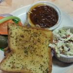 Pulled Pork Sandwich w/ cole slaw and beans