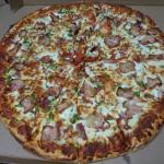 "Party size (18"") with: double cheese, pepperoni, sausage, salami, green peppers, onions"