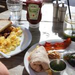 Scrambled eggs and lobster burrito