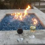 Fire pit at wine happy hour