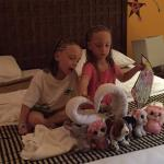 Towel art incorporating kids own stuffies was a nice touch. Make them super happy!