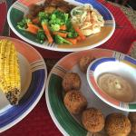 Conch Fritters and grilled fish.