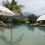 The view of the volcano from the pool, excellent restaurant and our room with vie s of the Bali