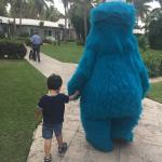 Cookie Monster walking my son to Camp Sesame