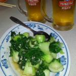 yummy bok choy and Chinese local beer