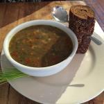 Lentil vegetable soup was delicious.