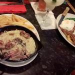 Carbonara and gammon steak main meals