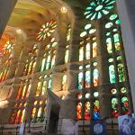 Sunlit stained glass throughout the Sagrada Familia