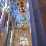 Tall archways reflecting the influence of the ocean inside the Sagrada Familia