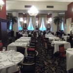 The restaurant set for dinner