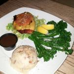 Cajun burger no bun, garlic mashed and rapini