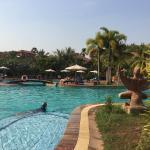 Habitación y vista de la piscina