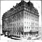 Das erste Palmer House, das seine Eröffnung nur 14 Tage überlebte und dann abbrannte.
