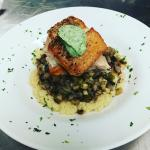 Mediterranean Cous Cous with Salmon topped with Basil Ricotta