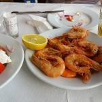 fried shrimps and Greek salad