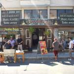 Outside the Britannia Bar on a summers day having a BBQ