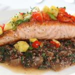 La Zingara, Salmon on a bed of sprouted Forbidden Black Rice with Tomato and Pineapple Sauce