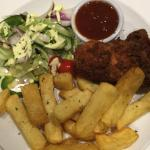 Fish and chips, southern fried chicken and veggie omelette - all good!