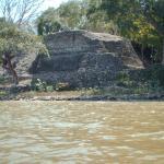 Cerros ruins viewed from kayak