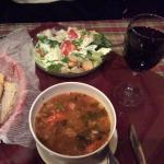 Minestrone and salad