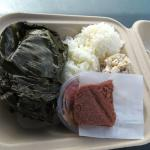 Taro leave wrap pork and that red piece is sticky rice, taste delicious!