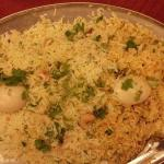 Taloja biryani-signature dish consisting of egg, chicken, mutton, fish!