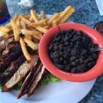 Blackened chicken plate with black beans and rice