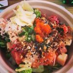 3 fish poke bowl with all the toppings. pure awesomeness.