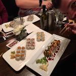 California Roll dinner on top, Godzilla roll on bottom