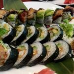 Dragon, Mexican, and spider roll (top to bottom)