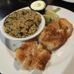 Fish and chips blackened and steamed with rice pilaf