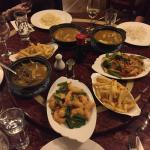 Five main courses...prawns, chicken curries, beef curry, vegetarian!