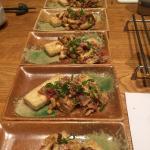Tofu steak with mushrooms toppings