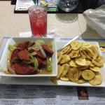Chorizo with fried green plantain chips, Very good!!