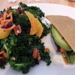 Luncheon special, half kale salad, half bella burger with avocado