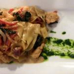Hand made papardelle pasta with wine poached lobster