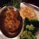 Crab Cake dinner with twice baked potato
