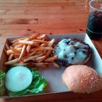 Mushroom Swiss burger with Cherry Rootbeer