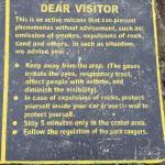 Informative plaque near the volcano