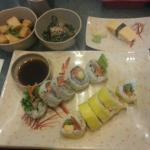 Winter roll, tuna tataki roll, age dashi tofu, spinach, tamago nigiri