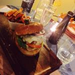 The amazing pork burger with sweet potato fries! Mouth watering meal!